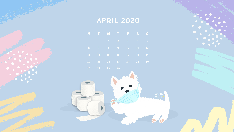 Calendar April Westie Vibes desktop