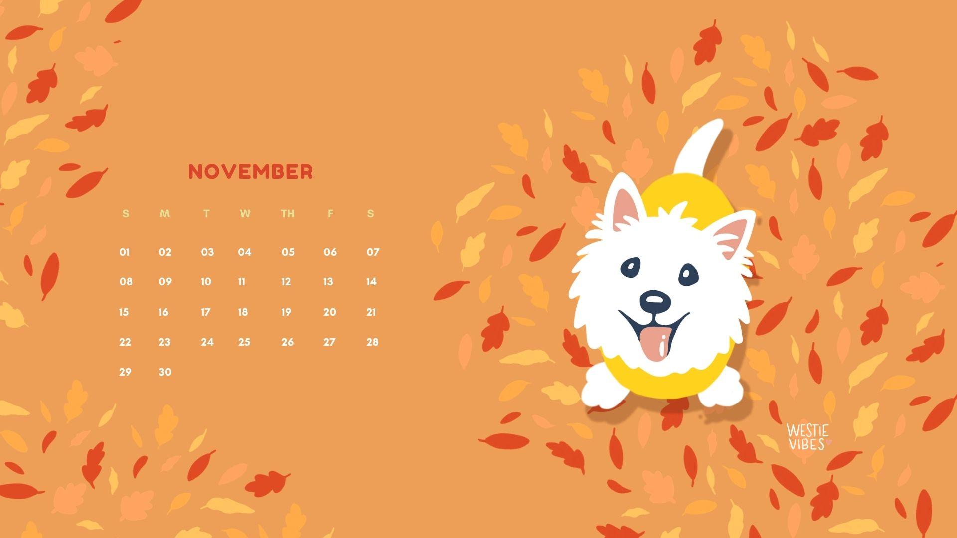 November Calendar Wallpaper Westie Vibes